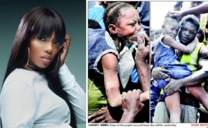 Tiwa Savage Visits Victims Of The Lagos Collapsed Building In The Hospital